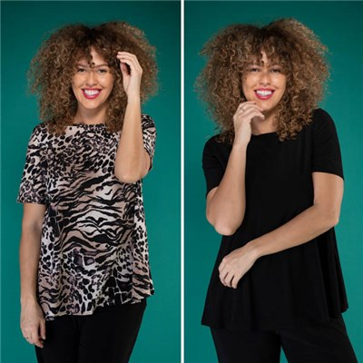 Nicole Print & Plain Half Sleeve Top - 2-pack