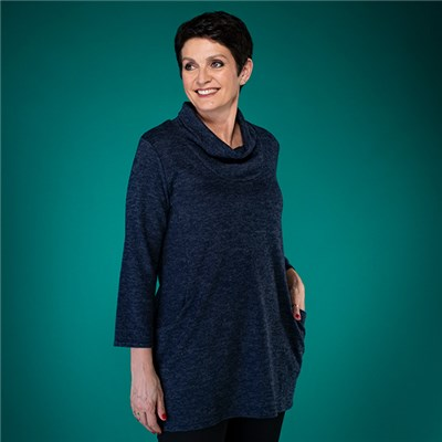 Nicole Brush Cowl Neck Pocket Tunic