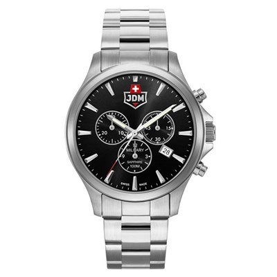 JDM Military Swiss Made Gents Alpha Chronograph Watch with Stainless Steel Bracelet
