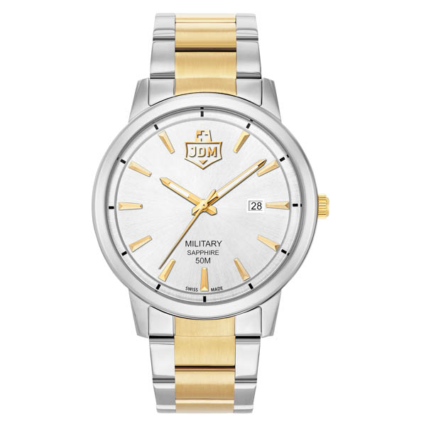 JDM Military Swiss Made Gent's Bravo 1 Watch with Two-Tone Stainless Steel Bracelet White