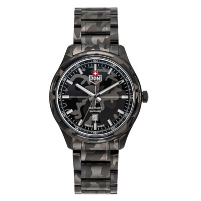 JDM Military Swiss Made Gent's Alpha Mission Watch with Stainless Steel Bracelet
