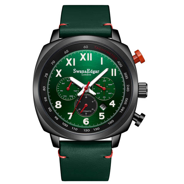 Swan & Edgar Gent's Ltd Ed Granville Diplomat Automatic Watch with Genuine Leather Strap Green