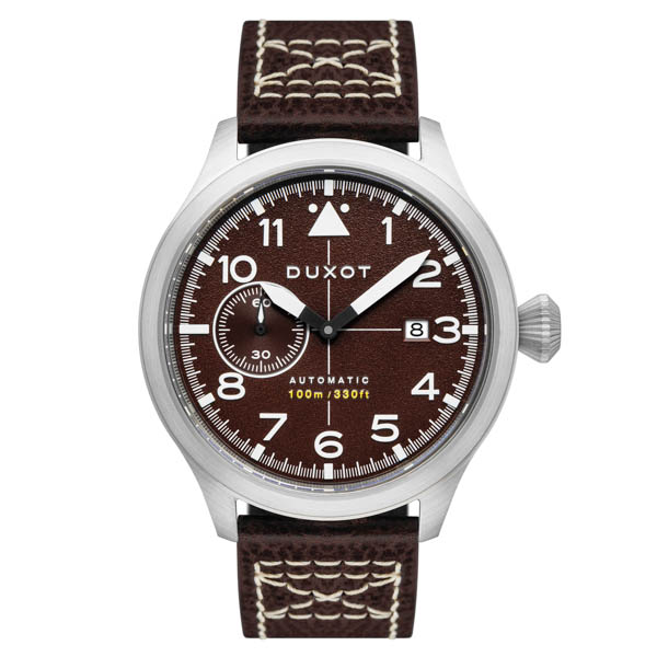 Duxot Gent's Altius Pilot Automatic Watch with Genuine Leather Strap Brown