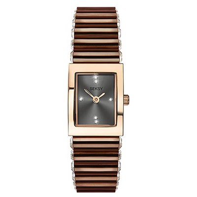 Seksy Ladies Edge Fashion Watch with Stainless Steel Bracelet