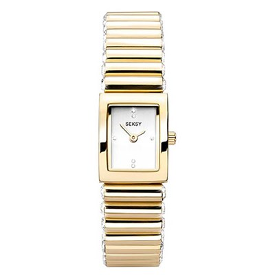 Seksy Ladies Edge Gold Fashion Watch with Stainless Steel Bracelet