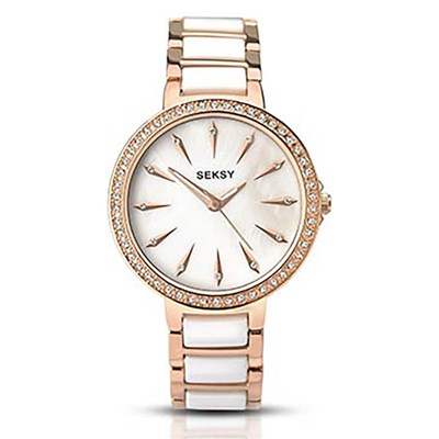 Seksy Ladies Swarovski Crystals White Mother of Pearl Dial Watch with Stainless Steel Bracelet