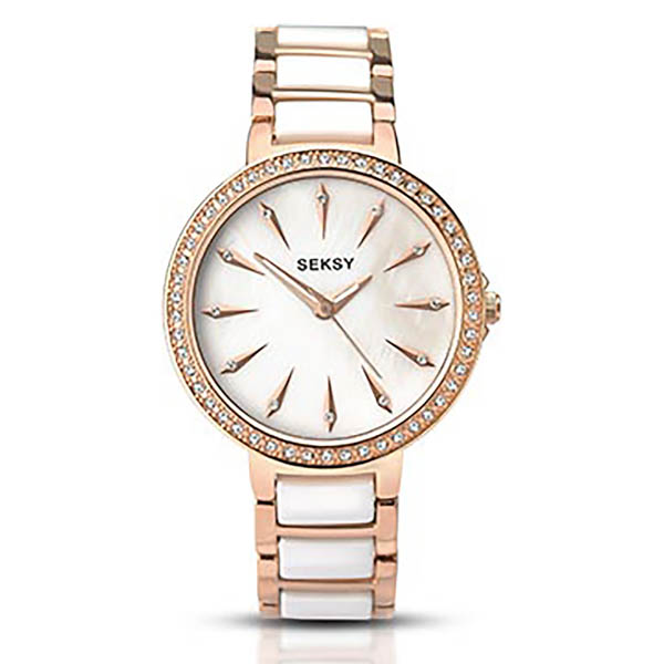 Seksy Ladies Swarovski Crystals White Mother of Pearl Dial Watch with Stainless Steel Bracelet White