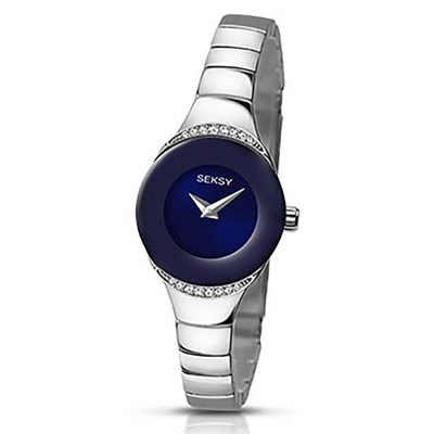 Seksy Ladies Swarovski Crystals Blue Dial Watch with Stainless Steel Bracelet