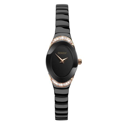 Seksy Ladies Swarovski Crystals Black Dial Watch with Black Stainless Steel Bracelet