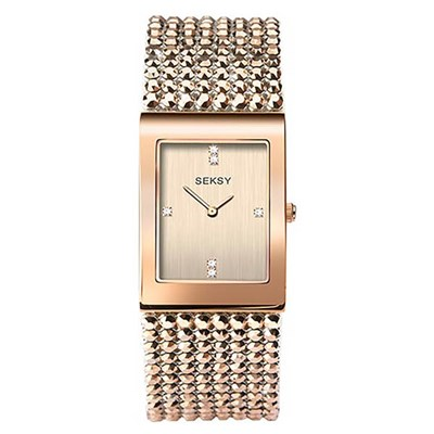 Seksy Ladies Shimmer Rose Gold Dial Watch with Stone Set Bracelet