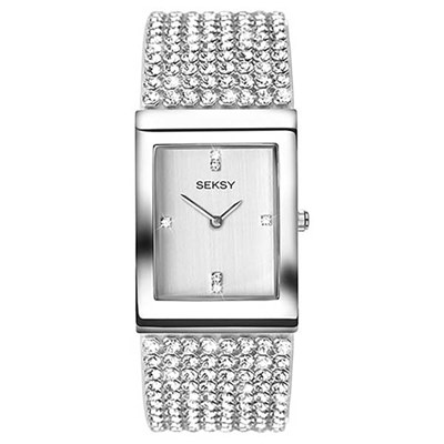 Seksy Ladies Krystals Silver Dial Watch with Stone Set Bracelet