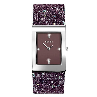 Seksy Ladies Rocks Swarovski Crystals Watch with Stone Set Bracelet