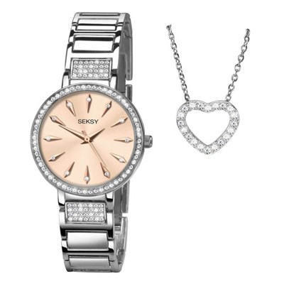 Seksy Ladies Watch and Necklace Gift Set