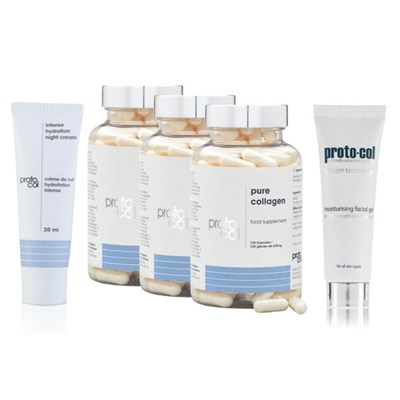 Proto-col 90 days of Collagen (3 x120 caps) with Facial Gel 20ml, Night Cream 20ml