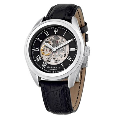 Maserati Gent's Traguardo Automatic Watch with Genuine Leather Strap