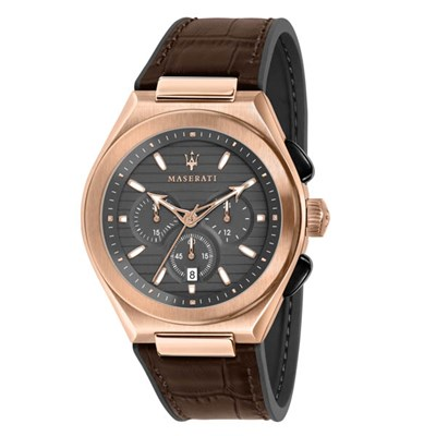 Maserati Gent's Triconic Chronograph Watch with Genuine Leather Strap