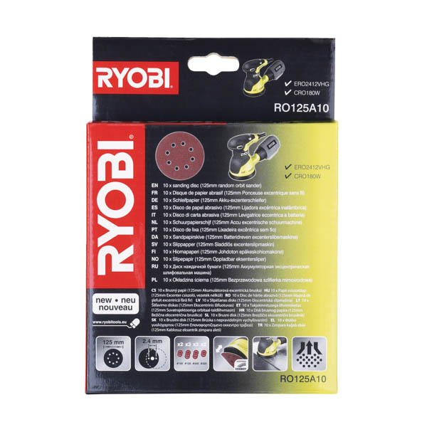 Ryobi 10 Piece Random Orbit Sander Sheet Set No Colour
