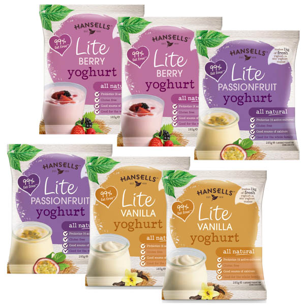 Hansells Lite 6 Pack Variety - Berry, Passionfuit, Vanilla No Colour
