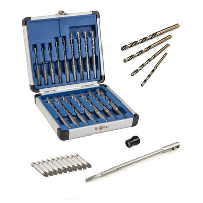 16 Piece Drill Bit Set - Reverse Action Drill Bits, Tipped Screwdriver Set, Allen Key and Easi-screw Magnetic Ring