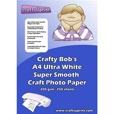 CraftsUPrint Ultra White 200GSM Silk Paper 250 Sheets