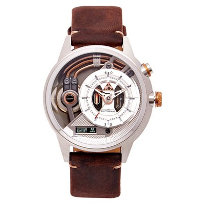 The Electricianz Steel Z Watch with Brown Leather Strap