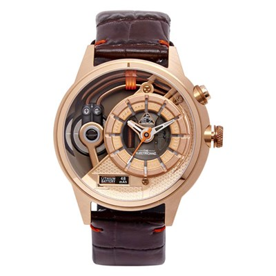 The Electricianz Sopranoz PVD Watch with Brown Leather Strap
