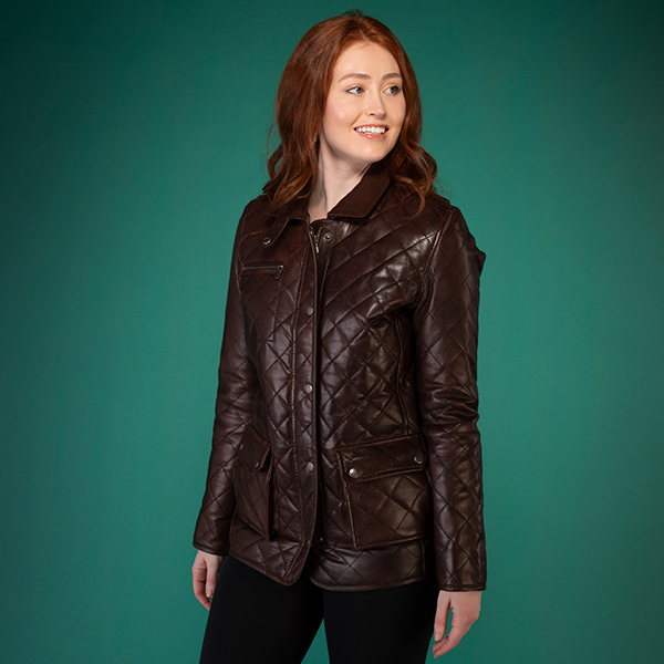 Woodland Leather Ladies Criss Cross Jacket Brown