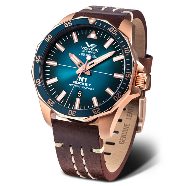 Image of Vostok Europe Gents N1 Rocket Automatic PVD Watch with Genuine Leather Strap