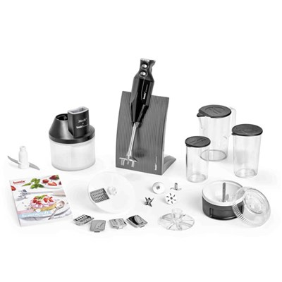 Bamix Special Baking Set 200W with Stand, 4 Blades, Processor, Powder Disc, Slicesy, 1000ml Jug with Lid, 400ml Beaker with Lids