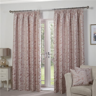 "Duchess Jacquard Lined Tape Header 90"" Curtains"