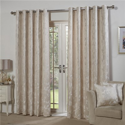 Butterfly Jacquard Lined Eyelet 66 Inch Curtains