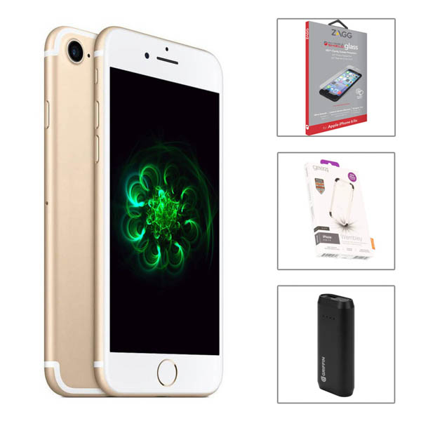 AzTech Apple iPhone 7 32GB Bundle with Griffin Powerbank, Gear4 D30 Case and Zagg Invisibleshield
