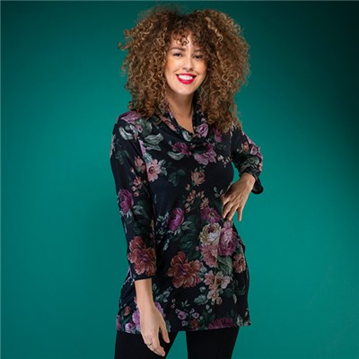 Nicole Print Cowl Neck Pocket Tunic