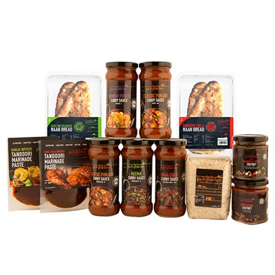 Punjaban Medium to Hot Curry Pack inc. Sauces, Marinades, Chutneys, Rice, Naans