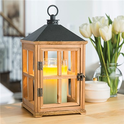 Hand Crafted Natural Wooden Lantern Candle Warmer
