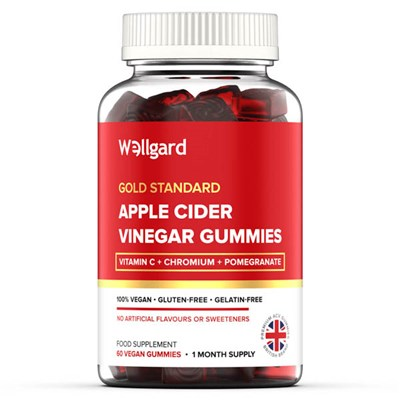 Wellgard Apple Cider Vinegar Gummies Food Supplement (60 vegan gummies - 30 day supply)