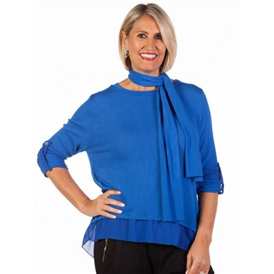 Fizz Cobalt Blue Button Back Chiffon Underlay Top with Scarf