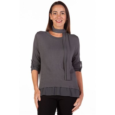 Fizz Dark Grey Button Back Chiffon Underlay Top with Scarf