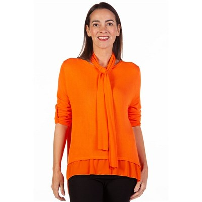 Fizz Orange Button Back Chiffon Underlay Top with Scarf