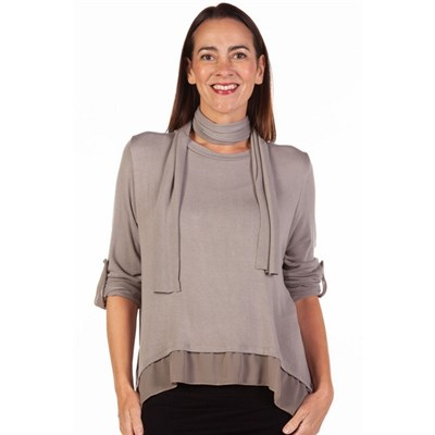 Fizz Taupe Button Back Chiffon Underlay Top with Scarf