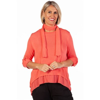 Fizz Coral Button Back Chiffon Underlay Top with Scarf