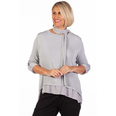 Fizz Silver Grey Button Back Chiffon Underlay Top with Scarf