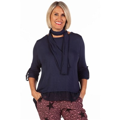 Fizz Navy Blue Button Back Chiffon Underlay Top with Scarf