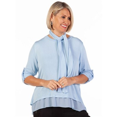 Fizz Powder Blue Button Back Chiffon Underlay Top with Scarf