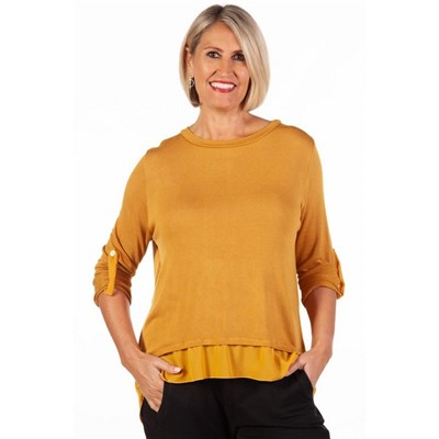 Fizz Mustard Button Back Chiffon Underlay Top with Scarf