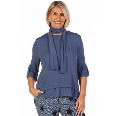 Fizz Denim Button Back Chiffon Underlay Top with Scarf