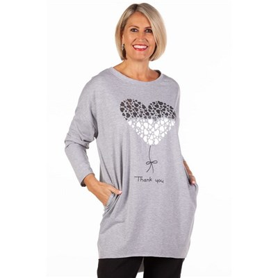 Fizz Pale Grey Thank You Tunic