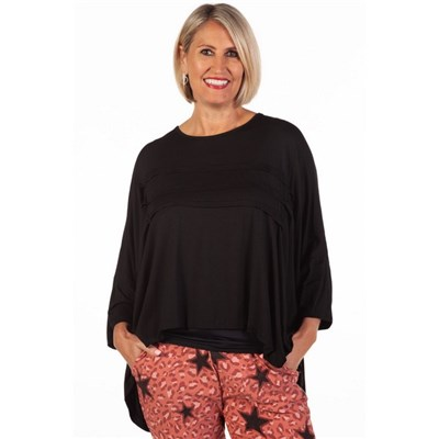 Fizz Black Batwing Top