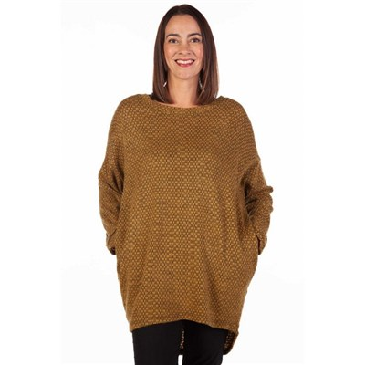 Fizz Mustard & Black Drop Back Soft Touch Tunic