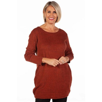 Fizz Tan & Black Drop Back Soft Touch Tunic